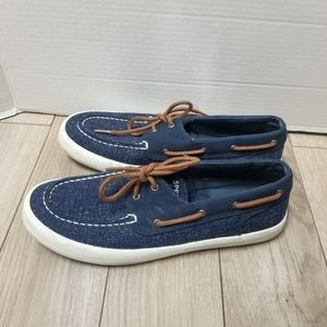 Mens size 9M Sperry Top Sider denim boat shoes